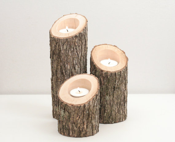 Wood Candle Centerpiece